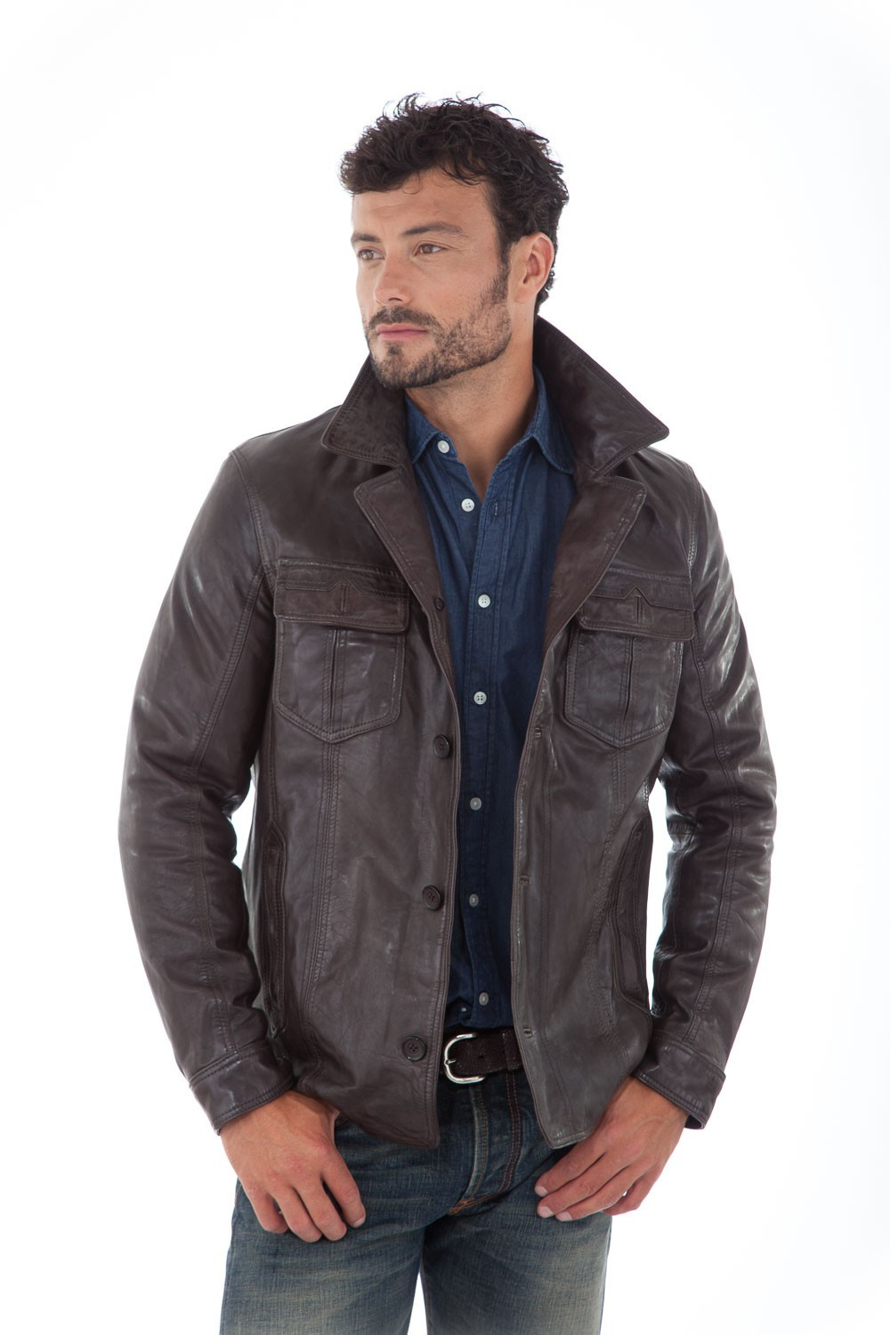 veste en cuir d 39 agneau marron homme daytona hutch cesare nori depuis 1955. Black Bedroom Furniture Sets. Home Design Ideas