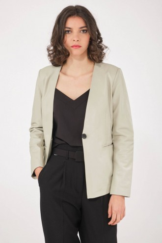 Veste en Cuir pour Femme Katso Paris THE FIRST BLAZER beige