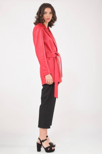 Blouson et veste cuir pour femme Katso Paris THE LEATHER TRENCH Rouge