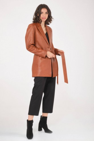 Blouson et veste cuir pour femme Katso Paris THE LEATHER TRENCH Camel