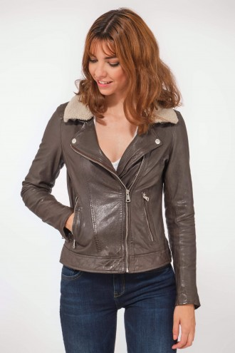 Perfecto femme en cuir, daim, peau lainée Oakwood FOLLOWER Marron