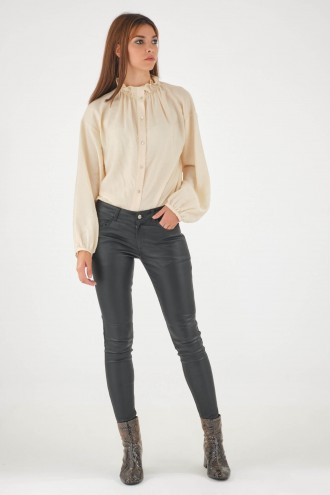 Pantalon en cuir stretch Sélection Cesare Nori STRETCH PANT Noir