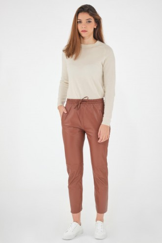 Pantalon en cuir Oakwood GIFT Brique