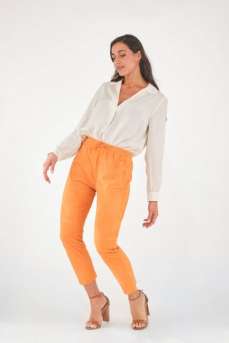Pantalon en cuir Oakwood GIFT VELOURS Orange