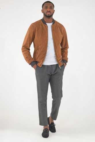 Blouson Daim Homme Oakwood WILLIAM Suede Cognac