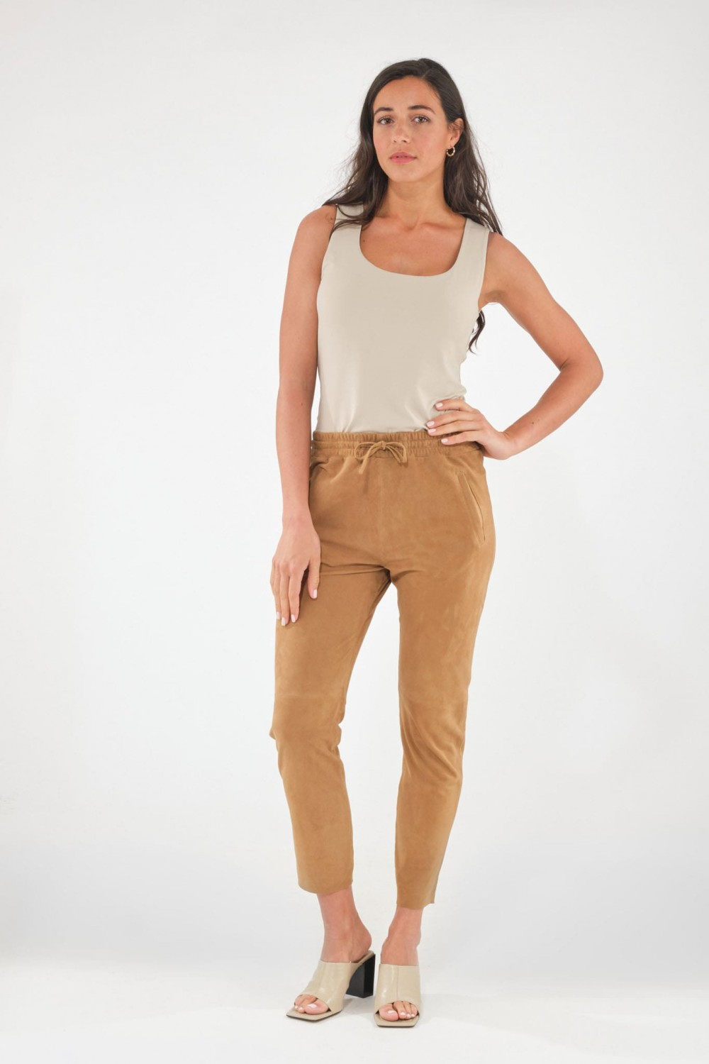 Pantalon en cuir Oakwood GIFT VELOURS Tan