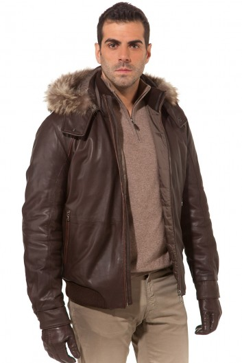 veste en cuir dagneau homme veste en cuir d agneau fourrure marmotte marron homme veste en cuir d ag. Black Bedroom Furniture Sets. Home Design Ideas